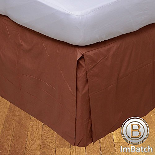 400TC, 100% cotone egiziano Elegant Finish 1Box Bund rughe Hose Copriletto massiccio (Drop lunghezza: 58,4cm), Cotone, Gold Solid, UK Small Double Brick Red Solid