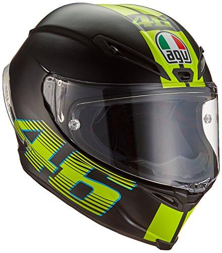 AGV Motorradhelm Corsa R E2205 Top PLK, V46 Matt Schwarz, Größe L (Schwarzes Doppelseitiges T-shirt)
