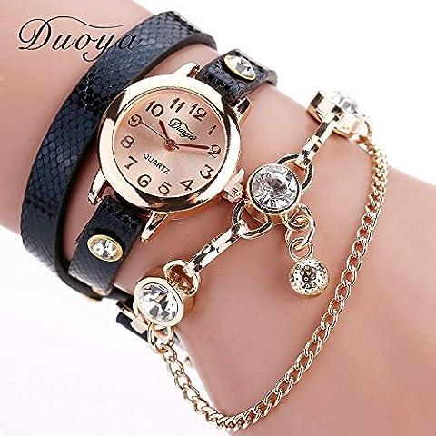 Nusey Dress (TM) Duoya di marca 2016 della nuova delle donne oro quarzo 7 colori la vigilanza di cuoio del braccialetto di vigilanza superiore di marca donne di lusso regalo XR956