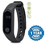 Drumstone Smart Fitness Band with Heart Rate Sensor/Pedometer/Sleep Monitoring Functions Compatible with Xiaomi, Lenovo, Apple, Samsung, Sony, Oppo, Gionee, Vivo Smartphones (One Year Warranty)