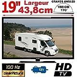 "TELEVISION CAMPING CAR CAMION 18,5"" 47cm LED HD TNTHD 12V 220V MANN19HD"