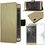 ebestStar - Coque Sony Xperia XA1, XA1 Dual (2017) Etui PU Cuir Housse Portefeuille Porte-Cartes Support Stand, Or/Doré + Film Protection écran Verre Trempé [Appareil: 145 x 67 x 8mm, 5.0'']