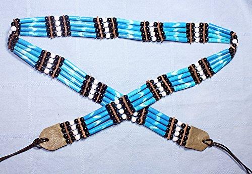 Indianer GÜRTEL 85-90 cm. plus Bänder TÜRKIS Bone Hairpipes echte Knochenröhrchen Knochengürtel Perlen