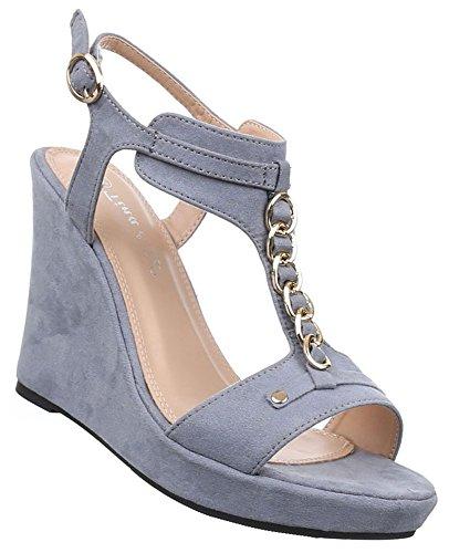 Aktuelle Damen Sandaletten Schuhe Keilabsatz Wedges Pumps 0848 Schwarz 37