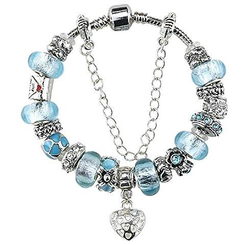 BOSHI plaqué argent Charm en Verre Murano bleu ciel Bracelets avec Charms Coeur LOVE Lettre DIY Pandora Compatible Fashion pour femme