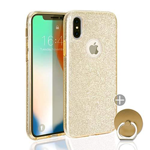 iPhone X XS 10 Hülle Bumper Case Cover Glitzer Glitter maxxmobile Hybrid Schutzhülle extra Slim Stoßfest Tasche Schale Hardcase + FINGERRING («Gold»)