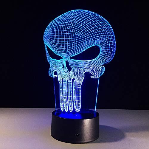 Ybhfc Punisher Figure 3D Led Night Light Skull Colorido Acrílico Usb Led Lámpara De MesaPunisher Figure De Acción Toca La Luz Nocturna