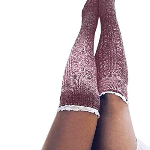 Frauen Oberschenkel hohe Socken,Kingwo Damen Baumwolle Oberschenkel hohe Strümpfe stricken über Kniestrümpfe - Halloween-stiefel Halterlose Strümpfe