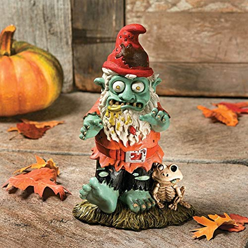 Creepy Halloween Dead Walking Zombie Gnome Garden Statue Sculpture