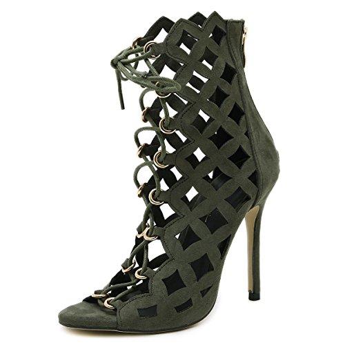 LvYuan-mxx Chaussures femmes talons hauts / Printemps Été / lacets romains creux cravate laser / Boîte de nuit sexy / Bureau & Carrière Party & Evening Dress / talon aiguille / sandales ARMYGREEN-US55EU36UK35CN35
