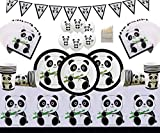 Fiesta de Mesa de Panda Decoración de cumpleaños Papel Panda Platos Tazas Servilletas Estandarte Banner Globos de Panda y lápices de Colores para 16 Invitados