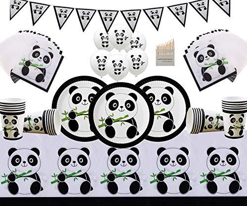 Panda Party Geschirr Geburtstagsdekoration Panda Pappteller Tassen Servietten Tischtuch Banner Gratis Panda Luftballons & Buntstifte-Serviert 16 Gäste