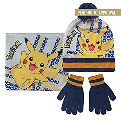 Pokémon 2200-2544 Packs Bonnet, cache cou et gants, Pompon, Hiver, Enfant, Acrylique, Multicolore, Pikachu