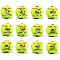 OSS-2 pelota para softball, tacto suave, tamaño 30,48 cm, Amarillo, 1 docena