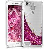 kwmobile Funda para Huawei GR3 / P8 Lite SMART - Case para móvil de TPU silicona - Cover trasero en rosa fucsia dorado transparente