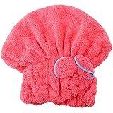 Chapeau Cheveux de Bouche Bain Cheveux Serviette en Microfibres Turban Douche Rapidement Bonnets de Bain - Rouge