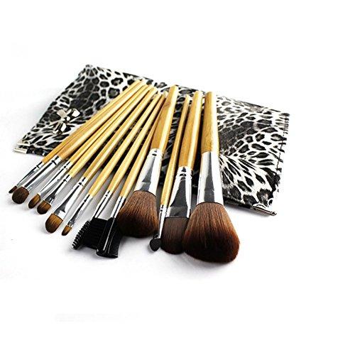 Maquillage Brosse, 12 Pcs/Set Poignée En Bois Noir Blanc Léopard Sac Maquillage Brosse Mélange Poudre Fard À Paupières Contour Concealer Beauté Cosmétique Pinceau Jouet Outil Kit