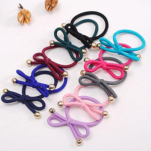 SwirlColor 20 pcs Bow nœud cheveux cravate bandes Ponytail Holder cordes élastiques pour les filles