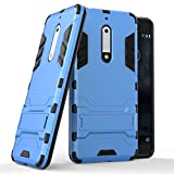 Funda para Nokia 5 (5,2 Pulgadas) 2 en 1 Híbrida Rugged Armor Case Choque Absorción Protección Dual Layer Bumper Carcasa con pata de Cabra (Azul)