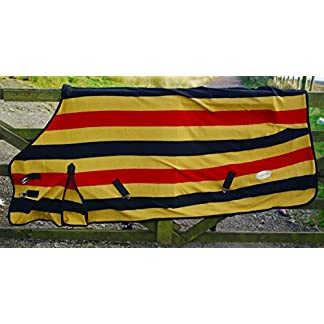 The Pig Oil Company Newmarket Gold Stripe Fleece/Cooler/Travel Rug - Excellent Quality (6'0) 8