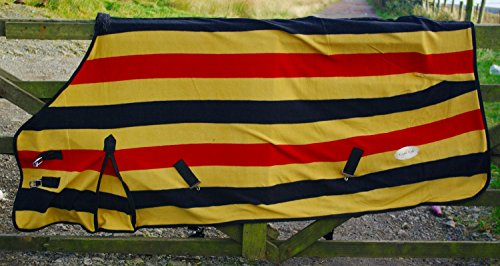 The Pig Oil Company Newmarket Gold Stripe Fleece/Cooler/Travel Rug - Excellent Quality (6'0) 1
