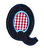 Q 9cm ABC denim blau Namen Buchstaben Aufbügler