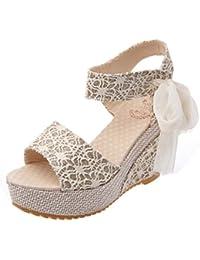 Sandalias para mujer Las mujeres de moda Casual verano pendiente con chanclas Sandalias Mocasines Zapatos Zapatos de cuña de tacón alto de verano con plataforma de cuña LMMVP
