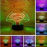 Lkfqjd Nouveau Coloré Visuel Superman Vs Batman Symbole Tactile Gradient Changement 3D Lampe Creative Usb De Noël Halloween Ami Cadeau Lumière