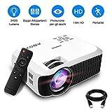 Proiettore 2400 Lumens Full HD Alta Luminosità, GooBang Doo T22 VideoProiettore LCD 1080P Portatile per Home Cinema Giochi Film Presentazioni