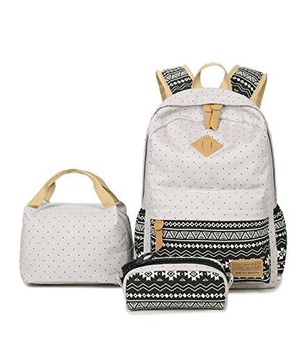Damen Canvas Schultaschens Schulrucksack Kühltasche Mäppchen Schultaschen 3 Set Grau