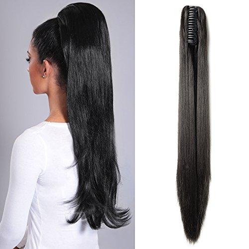 Extension Coda Capelli Lisci Coda di Cavallo Nero con Pinza Clip in Hair Lunghi Ponytail Extension Straight 53 cm 21 Pollici 140g - Nero Naturale