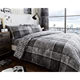 Duvet Cover Set King Size Bed with Pillowcases Quilt Printed Reversible Poly Cotton, Denim Check Grey