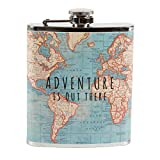 Vintage Map Adventurer Hip Flask by Maia Gifts