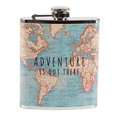 Vintage Map Adventurer Hip Flask