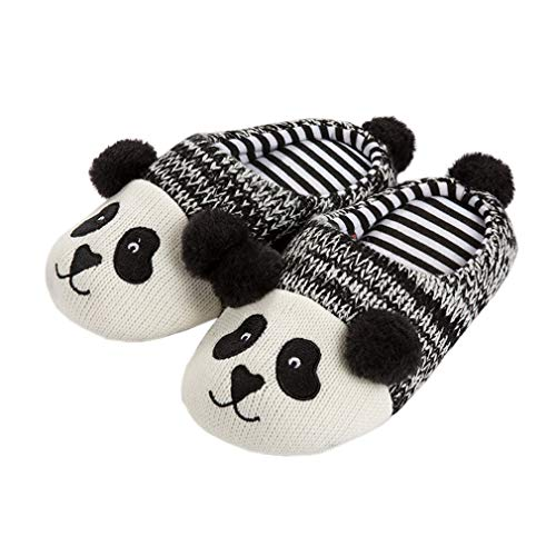 KVbaby Boys Girls Warm Slippers Kid Comfort Cartoon Indoor Shoes Plush Panda Winter Anti-Slip House Slippers for Women Men