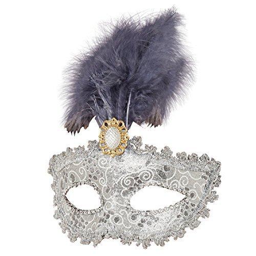rne Brosche Lila Flieder gefedertes Maskenball Mardi Gras Karneval Kostüm Augenmaske (Kopf In Den Wolken Kostüm)