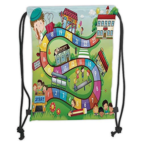 LULUZXOA Gym Bag Printed Drawstring Sack Backpacks Bags,Board Game,School Kids on Bus Playing in Garden Educational Games Library Toys Icons Print Decorative,