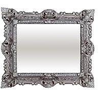 Arte Y Antigüedades Espejos Espejo De Pared Blanco-plata Antiguo Barroca Retro 50x76 Shabby Prunk Vintage