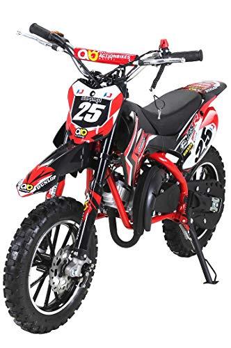 Actionbikes Motors Mini Kinder Crossbike Gepard 49 cc - Scheibenbremsen - Sportluftfilter - Sportauspuff - Luftbereifung (Rot) - Motorrad Dirt Bike Reifen