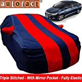 #10: Autofact Car Body Cover for Honda City Idtech (2014 to 2018) (Mirror Pocket , Premium Fabric , Triple Stiched , Fully Elastic , Red / Blue Color)