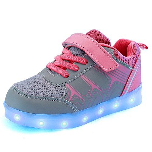 Estamico Unisex Kinder LED Turnschuhe Jungen Mädchen 7 Farben beleuchtung blinkende Sneakers USB-Lade schuhe Rosa