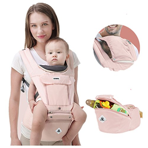 Babytrage/Kindertrage Bauchtrage Ergonomisch mit Hüftsitz 3in1,Rückentrage Hüfttrage für alle Jahreszeiten,verstellbar - für Neugeborene&Kleinkinder,Hellblau,Rosa