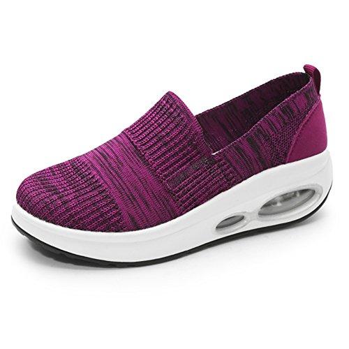 LFEU Zapato Gótico de Cuña Para Mujer Lienzo Sin Cordones Zapato Punk Respirable Cómodo Púrpura 35(Recomendar Tamaño Uno Más)