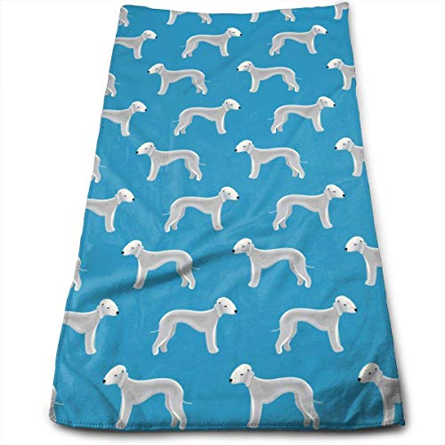 WTZYXS Bedlington Terrier Dog Cute Pattern Microfiber Multi-Purpose Towel Bath Towels Hand Towels Washcloth Towels Bathroom Towels - Great Shower Towels, Hotel Towels & Gym Towels 12