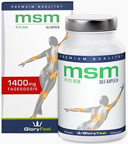 Der Vergleichssieger 2018* MSM Kapseln 1400mg - 365 vegane Kapseln MSM-Pulver (Methylsulfonylmethan) + Vitamin C - Ohne Magnesiumstearate - 6 Monatsvorrat - Nahrungsergänzung hergestellt in Deutschland von GloryFeel