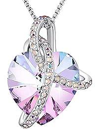 Angelady ♥Amour de l éternité♥ Améthyste Bleu Cristal Pendentif Coeur  Collier avec Cristaux a6dedad3d8b3