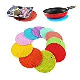 #3: LUKZER (2 Pcs Set) Round Shape Silica Gel Anti Hot Heat Resistant Pot Holder Disc Pads Car Dashboard Anti-Slip-resistant Pad Dining Table Mat Placemat Coasters (Assorted Colors)