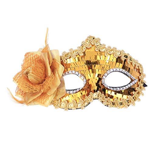 YeahiBaby Venezianische Maske Maskerade Halbmasken Venedig Bauchtanz Maske Pailletten Maske für Karneval Tanzparty Kostüme (Golden)