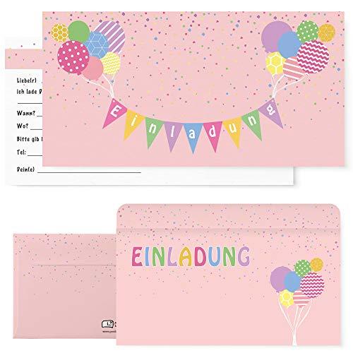 Postkartenschmiede 12 Einladungskarten Geburtstag Kinder Mädchen, Einladungen Kindergeburtstag Mädchen, Geburtstagseinladungen Maedchen (rosa)