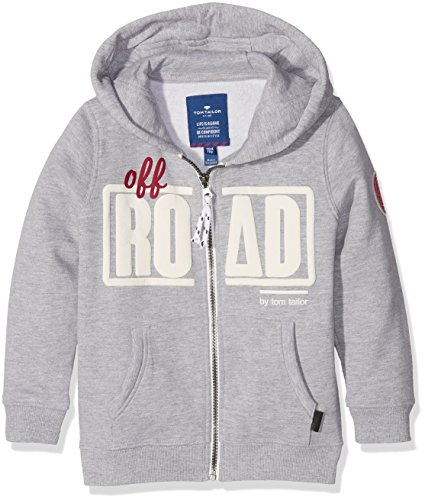 TOM TAILOR Kids cool hood jacket with print, Felpa Bambino, Grigio (medium grey melange), 134 (Taglia Produttore: 128/134)